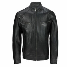 Mens New Black Real Leather Retro Smart Casual Zipped Biker Style Bomber  Jacket