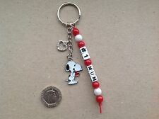 GIFT FOR MUM, No.1 MUM, No.1 MUMMY or ANY NAME Handmade Snoopy Keyring.