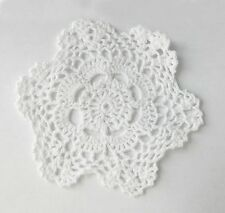 Set of 4 Handmade Crochet Lace Cotton Doilies, 6-Inch Round, Beige or White