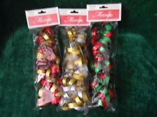 Christmas Tree Garland 6 feet Foil Ring Chain set of 3 Gold Silver Red Green
