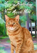 Ginger Cat Occasions Personalised Greeting Card Birthday Fathers Mum PIDCAT1