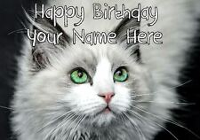Cute Cat All Occasions Personalised Greeting Card Birthday Fathers Mum CAT