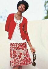NEW WHITE STUFF RED FLORAL / PURPLE REVERSIBLE SKIRT COTTON 8 10 12 14 16 18