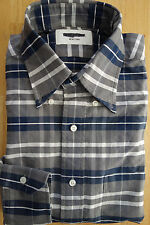 NWOT Thom Browne White Navy Gray Check Oxford Cloth Button Down TB2 TB3