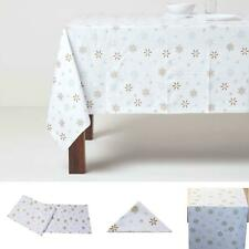 Christmas Cotton Gold Snowflake Tablecloth Napkins Placemats Runner Decoration