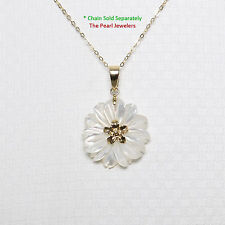 14k Solid Yellow Gold Hand Carved Mother of Pearl Hawaiian Plumeria Pendant