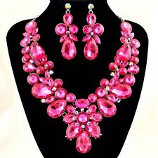 Adjustable Pink Teardrop and Round Formal Rhinestone Necklace W Earrings