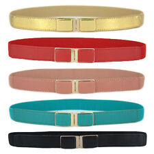 Women Fashion Gold Buckle Thin Faux Leather Elastic Stretch Cinch Waist Belt