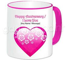 Personalised Love Pink Heart & Flowers Love You Happy Anniversary Valentines Mug