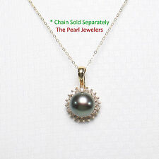 14k Solid Yellow Gold Surrounded 20 Diamonds & AAA Black Cultured Pearl Pendant