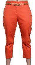 Charter Club Petite Capri Pants Belt Tummy Slimming Cropped Orange Bottoms