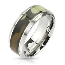 Coolbodyart AF stainless steel ring silver 8mm wide with Green camouflage Inlay