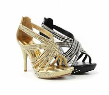 Sexy Women Fashion Sandals High Heels Strappy Open Toe Style Rhinestone Design