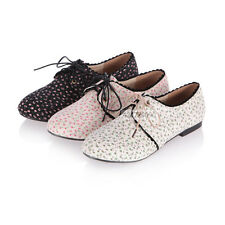 Womens Ladies Flat Low Heel Loafers Lace Up Floral Pumps Oxfords Miss Shoes Size