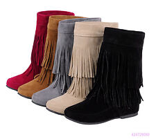 New Womens Girls Mid Calf Boots Pull On Low Heels Shoes Tassels AU Size Y1546