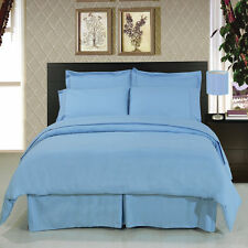8pc Luxury Light Blue Duvet Cover & Comforter Bedding w/Microfiber Sheet Set