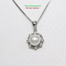 14k Solid White Gold White Freshwater Cultured Pearl Encircles, Diamonds Pendant