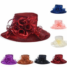 Ascot wide brim Kentucky wedding church derby hat satin organza dress floral hat