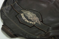Harley Davidson Men V-TWIN Winged Bar&Shield Brown Leather Vintage Jacket L Rare