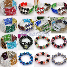 Stretchy Colorful Crystal Glass Spacer Faceted Beads Bracelet Bangle Chic Gift