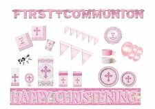 NEW Pink Radiant Cross Girls Communion/Confirmation/Christening Party Tableware