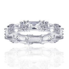 2.75 Carat Round & Radiant Cut Cubic Zirconia Eternity Band in Sterling Silver
