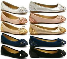 LADIES GIRLS FLAT PUMPS WOMENS GLITTER BALLET BALLERINA PARTY BRIDAL SHOES 3-8