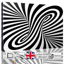 LARGE BLACK AND WHITE ABSTRACT OPTICAL ILLUSION CANVAS WALL ART PRINTS PICTURES