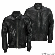 Mens Black Soft Real Leather Vintage Collar Bomber Style Biker Jacket All Sizes