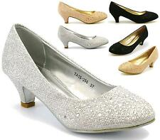 NEW WOMENS LADIES LOW HEEL PARTY PROM BRIDAL SMART WORK COURT SHOES SIZE 3-8
