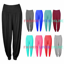 Womens Ladies Plain Harem Trousers Pants Ali Baba Leggings Baggy Style UK 8-16