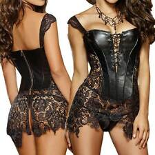 Corset Black + G String Faux Leather Venice Lace  Plus Size Lingerie Size 8 - 24