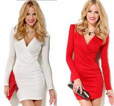 New Womens Sexy Deep V-Neck Bodycon Party Evening Clubwear Cocktail Mini Dress