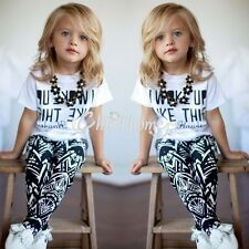 2Pcs Toddler Baby Girl Cotton T-shirt Top +Long Pants Holiday Outfit Clothes Set