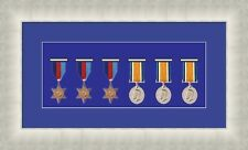 NEW Military War Medal 3D Box Picture Frame Fits 6 Medal- Blue Mount Made in Uk
