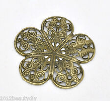 Wholesale New Bronze Tone HOTSELL Filigree Flower Wraps Connectors 36x36mm