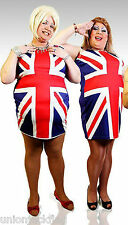Mens Union Jack Spice Girls Dress XL -  XXL Fancy Dress -  with Ginger Spice wig
