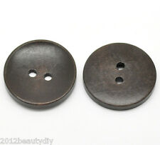 """Wholesale lots Dark Coffee 2 Holes Round Wood Sewing Buttons 30mm(1 1/8"""")Dia."""