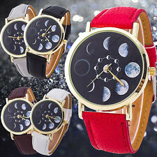 Unisex Quartz Wrist Watch Moon Phase Astronomy Space Faux Leather Band Inviting