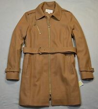 NWT WOMEN MICHAEL KORS CAMEL ZIP UP BELTED PEACOAT OUTERWEAR COAT JACKET SZ M