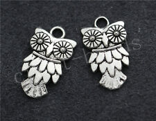40/240pcs Tibetan Silver Lovely owl Alloy Jewelry Charms Pendant Craft 20x11mm