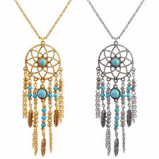 Bohemian Dream Catcher Turquoise Feathers Chain Necklace Earrings Women Gift