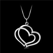 Sterling Silver Heart Shaped Pendants W/ Sterling Chain Necklace