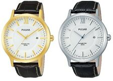 Pulsar Kinetic White Dial Leather Strap Mens Watch