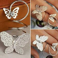 Fashion Crystal Twisting Finger Ring Double Butterfly Rhinestone Ring Jewelry