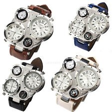 Oulm Adventure Men's Quartz Military Leather Watch Dual Movt Compass Thermometer