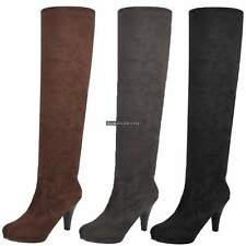Women Over Knee Thigh High Stiletto Heel Platform Stretch Boot US TOP