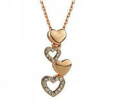 18K Rose Gold GP Swarovski Crystal Heart Necklace Lady Wedding Gem Pendant N357b