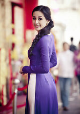 Vietnam AO DAI CUSTOM MADE, Dark Sapphire Chiffon Dress & White Satin Pant
