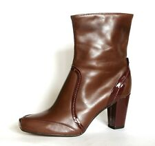 """Clarks UK 6 & 7 Charcoal Brown Leather 3"""" Block High Heel Zip Up Ankle Boots"""